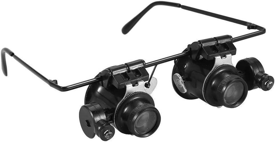 10X 15X Lupa gafas con luz led,lupa ojo relojero con 6 Lentes reemplazables 6X 25X,herramientas relojero 8X 20X