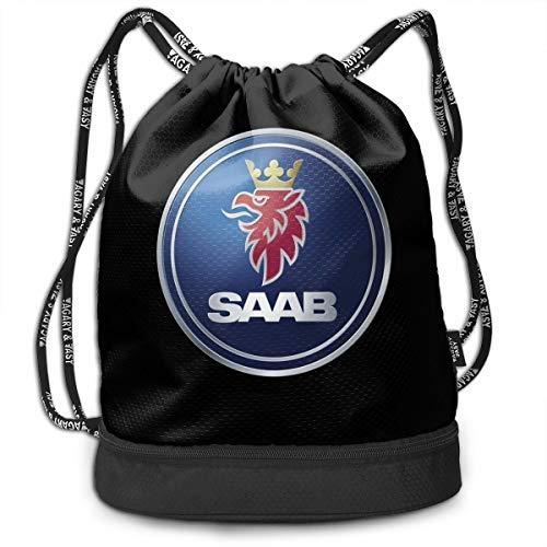 UESEU Custom General Motors Saab Logo Travel Drawstring Tote Bag Sports Drawstring Bags