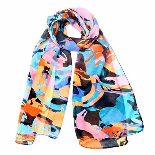 """Colorful Multi-style Chiffon Scarf, Luweki Fashion Women Wrap Lady Shawl Scarves (150CM X 40CM/59.1""""X15.8"""", Cool horses)"""