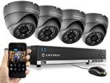 Amcrest 960H 4CH Video Security System – Four 800+ TVL Dome IP66 Weatherproof Cameras (Black)