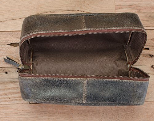 17cd33754e11 Amazon.com   Harris Luxury Leather Dopp Kit Shaving Toiletry Travel Bag (Bistre  Brown)   Beauty
