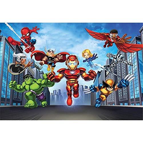Cartoon Photography Background Backdrop 7x5ft Birthday Avengers Theme