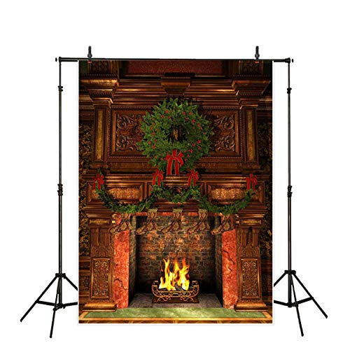- Allenjoy 5x7ft Fireplace Christmas Photography Backdrop Background Xmas Decoration Photo Studio Booth Prop for Newborn Baby Shower Kids