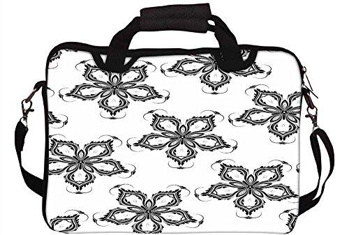 Snoogg grau mit Blumenmuster 30,5cm 30,7cm 31,8cm Zoll Laptop Notebook Computer Schultertasche Messenger-Tasche Griff Tasche mit weichem Tragegriff abnehmbarer Schultergurt für Laptop Tablet PC Ult