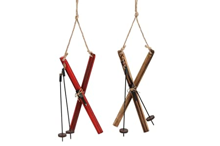 Carousel Home One Pair Of Classic Wooden Skis Hanging Decoration