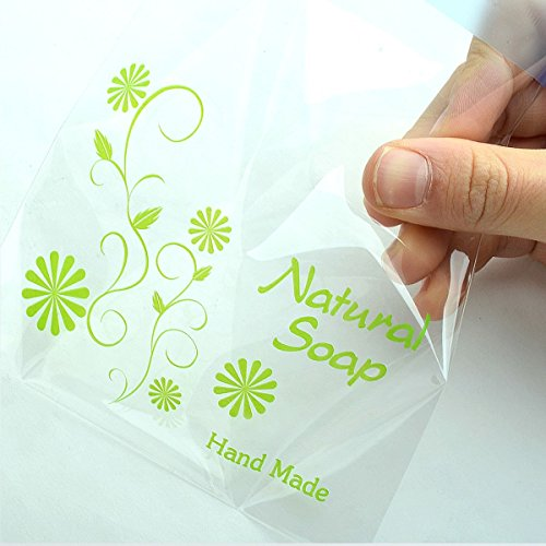 Soap Packaging Cello Gift Bags for Hand Made Soap Bars 11.5cmx11.5cm+4cm Natural Soap Bags Green 200sheets