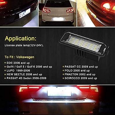 Dapool Led License Plate Light Canbus Xenon White for Volkswagen VW Beetle Golf 4 5 6 GTI MK4 MK5 CC Rabbit Eos Phaeton: Automotive