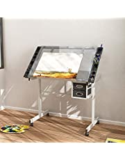 DlandHome Glass Drafting Table 41inch Adjustable Drawing Table Craft Station Center With 2 Storage Drawers