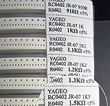 Yobett 0 ohm - 10M ohm 0402 170 Value 8500pcs all Series SMD Resistor Combo Sample Book Kit SMT Pack Box Book RoHS 5%