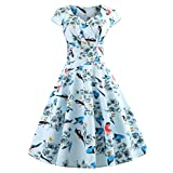 Snowfoller Elegant Ladies Vintage Ruched Swing Dress Summer V Neck Printing Evening Party Prom Long Dress (M, Blue)