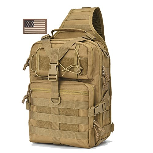 Tactical Sling Bag Pack Military Rover Shoulder Sling Backpack EDC Molle Assault Range Bags Day Pack with USA Flag Patch Tan