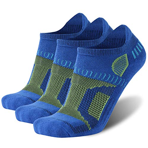 No Show Running Socks, HAPYCEO Mens No Show Cushioned Performance Tab Ankle Socks for Running Hiking Workout, 3 Pairs,Medium