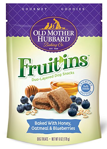 Old Mother Hubbard Gourmet Goodies Fruit'ins Crunchy Natural Dog Treats, Honey, Oatmeal & Blueberries, 6-Ounce Bag