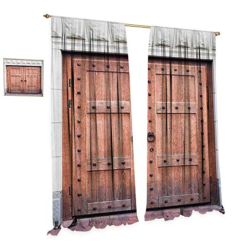 Rustic Window Curtain Fabric Antique French Wooden Door Old Medieval Historical Entrance Middle Age Design Drapes for Living Room W96 x L108 Brown and Cream