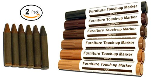 Vanitek Total Furniture Repair System - 24Pc Scratch Restore & Repair Touch-Up Kit - Felt Tip Markers, Wax Stick (Large Oak Veneer)