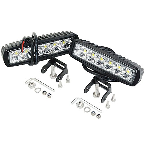 - 12v LED Light Bar,2Packs 18W 6 Inch Work Light Pods Single Row Off Road Led Light Driving Light Fog Light Boat Light Waterproof SUV ATV Car Truck Golf Cart