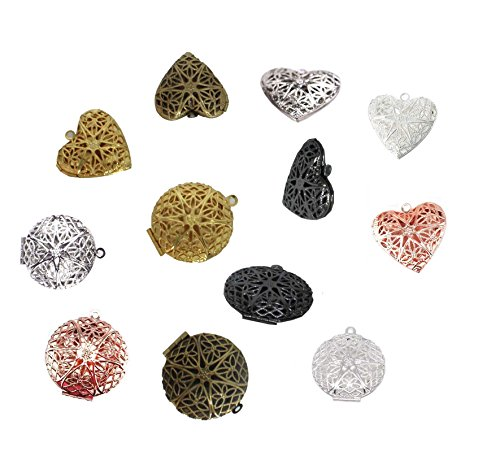 BIHRTC Pack of 12 Round and Heart Shape Photo Locket Frame Charms Pendants (6 colors) - Frame Photo Art Heart Charm