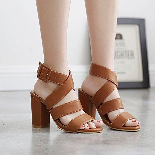 Pumps De Strap Sandals De Zapatos Vintage Mujer De Tacón Ladies Party Ankie Out Aguja Tacón Roma Abiertos Chunky De YR R Club Alto Brown Cut Zapatos q1wSUE