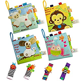 ISTOYALL Soft Baby Books Cloth Book Set 4 Pack Crinkle Toys for Baby Educational Learning & Foot Finders & Wrist Rattles Infants Socks Toys Toddler Activities Toys for Newborns Babies Boy Girl Gift