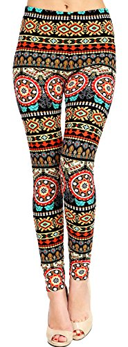 VIV Collection Plus Size Printed Brushed Leggings (Exotic Fusion)