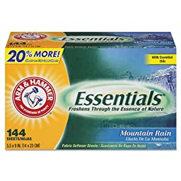 Arm & Hammer Essentials Dryer Sheets, Mountain Rain - six boxes of 144 sheets each.