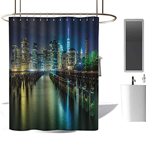 Tim1Beve New York Shower Curtain Pier Pilings and Manhattan Skyline at Night Downtown Urban East River Non Toxic Shower Curtain W72 x L84 Dark Blue Green -