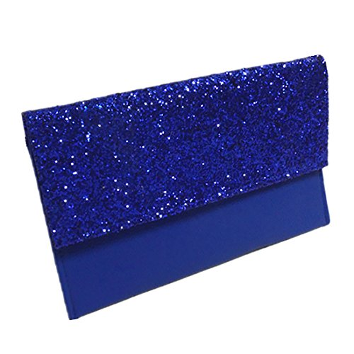 Verus Womens Glitter Leather Envelope Clutch Bag Sparkly Silver Gold Black Evening Bridal Prom Party Handbags Purse Royal Blue