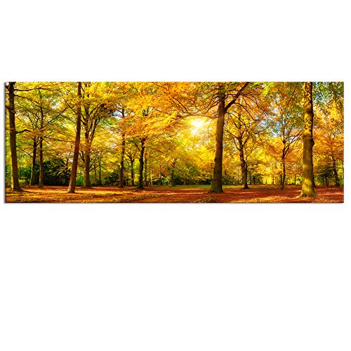 (Large Autumn Forest Canvas Wall Art Prints,Autumn Tree Forest Painting Printed on Canvas,Framed And Stretched,Landscape Home Decor,Living Room Bed Room Hotel Wall Mural Decor (Autumn Forest))