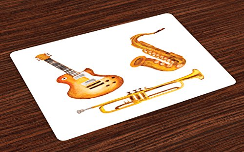 Lunarable Music Place Mats Set of 4, Guitar Saxophone Jazz Rock and Roll Blues Soul Folk Watercolor Tones Artsy, Washable Fabric Placemats for Dining Room Kitchen Table Decoration, Orange and Yellow - Saxophone Sets Rock