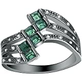 Fashion Jewelry 14KT Black Gold Filled 925 Silver Emerald ring (7)