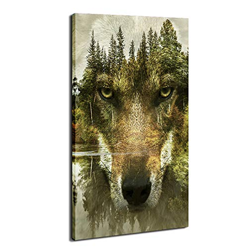DVQ ART Green Forest Wolf Face Canvas Panel Wall Art Animal Cool Posters for Wall Wolves Pictures Prints Mural Framed Artwork Ready to Hang for Living Room Decor (16x32Inch)