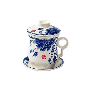 Handgemalte Pfingstrosen Blumen Teetasse,Jing Dezhen Blau Und Weiß  Porzellan Teetasse Mit Deckel Und Untertasse