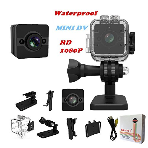 (Sansnail Waterproof Mini Cam SQ12 HD Sport Action Cam Night Vision Camcorder 1080P DV Video Recorder Infrared Car DVR Camera Motion Detection for Bicycle Motorcycle Ski Diving Snorkeling)