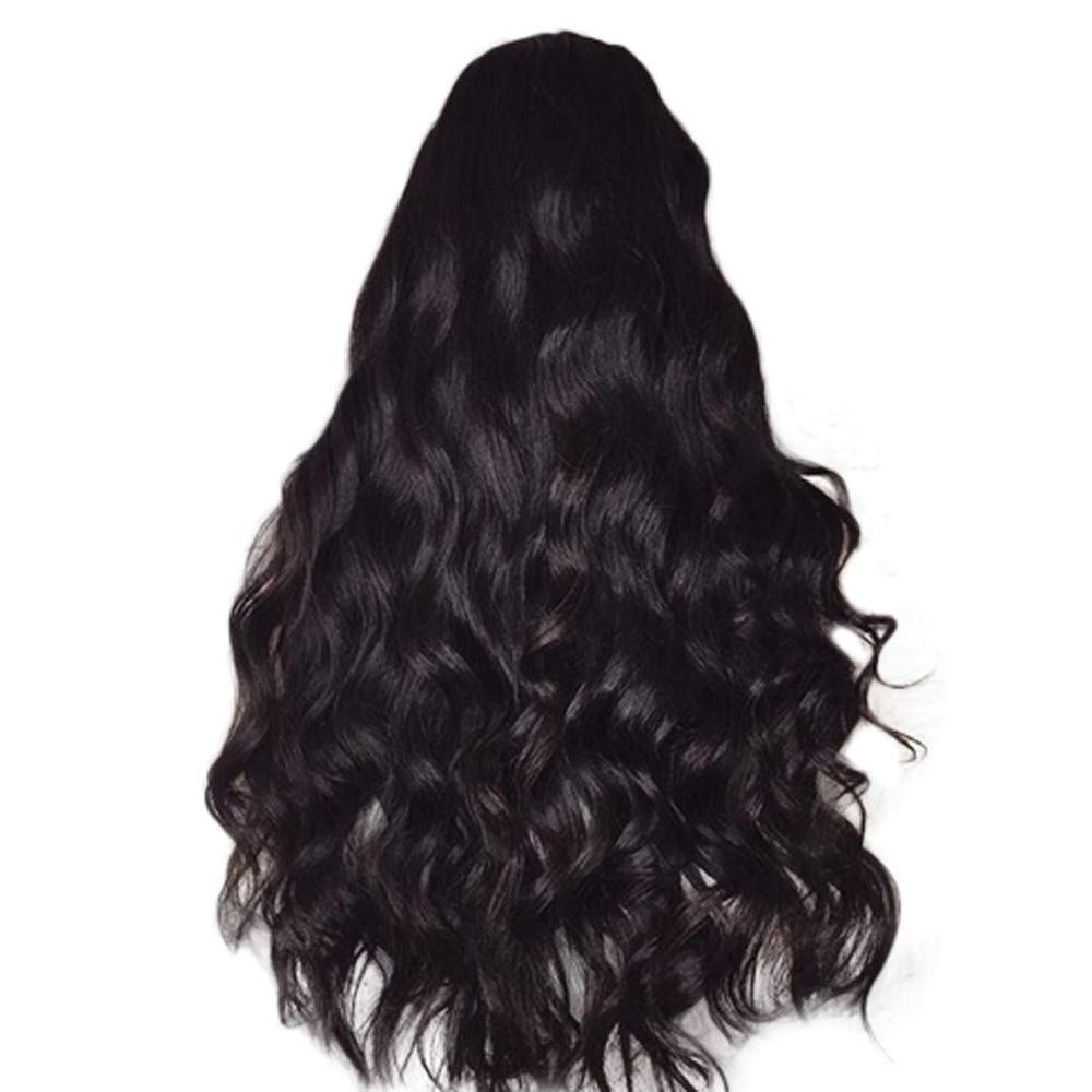 AMUSTER Neu Perü cke Schwarz stilvoll gelockt Lang Haar Wigs fü r Karneval Cosplay 65-68cm (Rose Haarnetz)
