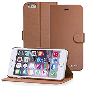 Vena Apple iPhone 6 Plus Case [vSuit] Draw Bench PU Leather Snap Case Cover with [Card Pockets] for Apple iPhone 6 Plus 5.5 Inch (Brown)