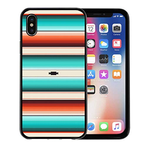 Semtomn Phone Case for iPhone Xs case,Turquoise Orange Navajo White Stripes Mexican Serape Threads Native American Ethnic Boho Pattern Swatch for iPhone X Case,Rubber Border Protective Case,Black