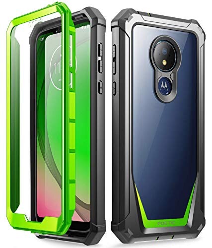 Moto G7 Power Case, Moto G7 Supra Case, Moto G7 Optimo Maxx Case, Poetic Full-Body Rugged Clear Hybrid Bumper Case, Built-in-Screen Protector, Shock Proof, DO NOT FIT Moto G7 Or Moto G7 Play, Green