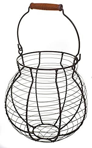 Shabby Chic Wire Flower / Fruit / Egg Basket with Handle