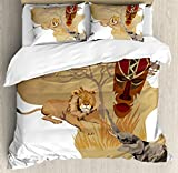 Safari Duvet Cover Set by Ambesonne, Silhouette Africa Map and Local Animal Elephant Lion Tribal Mask Savannah Wild Life, 3 Piece Bedding Set with Pillow Shams, King Size, Multicolor