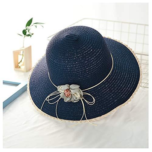 Wide Brim Floppy Sun Hats for Women Summer Straw Beach Hat Sunhat UV Protection Cap Outdoor Travel Flower Foldable Visor Caps,Navy,56-58cm -