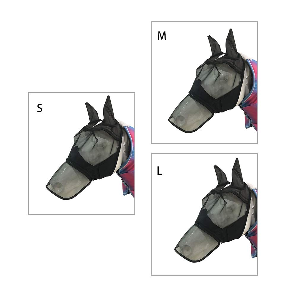 NANAD Horse Fine Mesh Fly Mask,Mule Donkey Fly Mask with Long Nose and Ears S