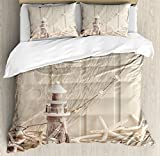 Fishing Net Duvet Cover Set King Size by Ambesonne, Marine Theme with Sea Stars And Shells Underwater Life Wooden Lighthouse Print, Decorative 3 Piece Bedding Set with 2 Pillow Shams, Beige Cream