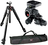 Manfrotto MT055XPRO3 Aluminium 3-Section Tripod kit with 410 Junior Geared Head and a VidPro 35 inch Tripod Carrying Case with Strap
