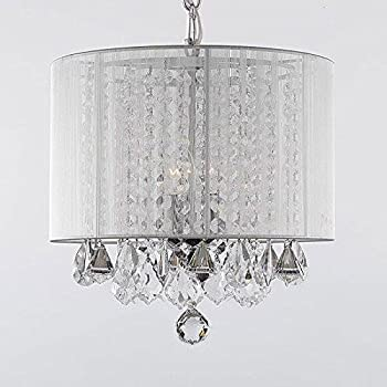 Contemporary 3 light crystal chandelier chandeliers lighting with crystal chandelier chandeliers with large white shade h15 x w15 mozeypictures Gallery