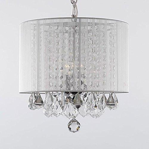 (Crystal Chandelier Chandeliers With Large White Shade! H15