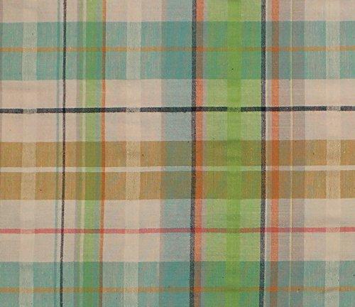 (Shadow Cotton Stretch Seersucker Plaid Fabric, Seerssucker Plaid Fabric, Seersucker Shirting Fabric - TAN/BLUE)