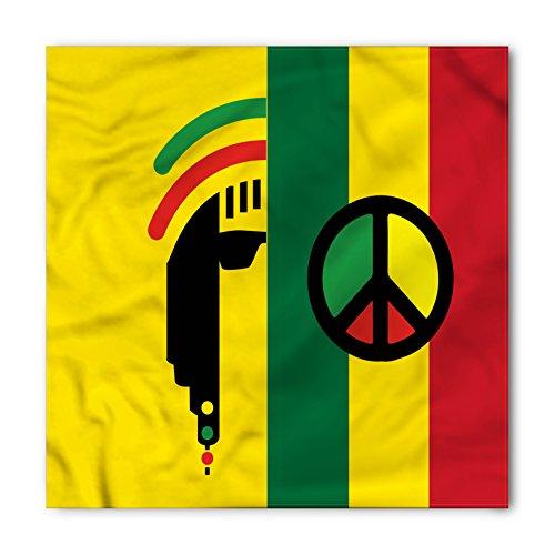 Reggae Tie - Ambesonne Rasta Bandana, Reggae Music Peace Symbol, Unisex Head and Neck Tie