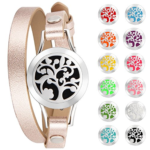 Tree of Life Aromatherapy Bracelet Essential Oil Diffuser Hypoallergenic 316L Surgical Stainless Steel with Adjustable Genuine Leather Rose Gold Bracelet and 12 Different Color Pads (Silver And Natural Leather Bracelet)
