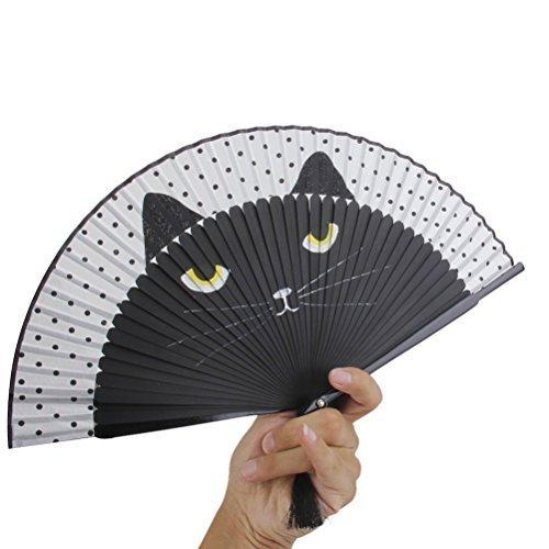 (ULTNICE Silk Hand Painted Cartoon Cat Folding Fan)