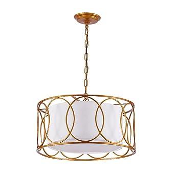 Pendelleuchte Klassisch Weiß Stoff Lampenschirm 3 Flammig Gute Qualität  Höhenverstellbar Hängeleuchte Modern Design Runden Wohnzimmer